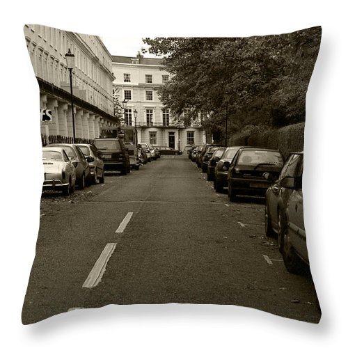 Travel Throw Pillow featuring the photograph A London Street II by Ayesha Lakes