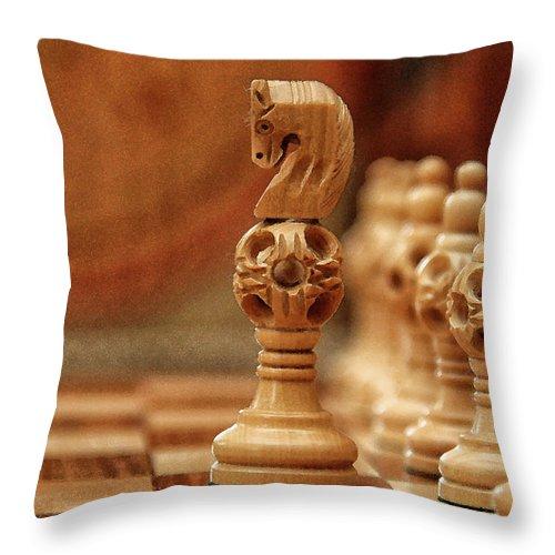 Board Throw Pillow featuring the digital art A Lone Knight by Sandeep Gangadharan