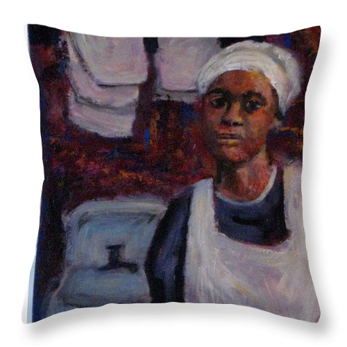 Woman Throw Pillow featuring the painting A Long Day by Connie Freid