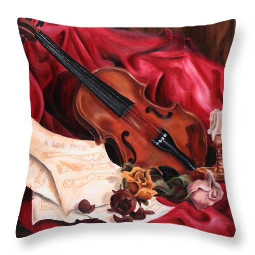 Violin Throw Pillow featuring the painting A Love Story by Maryn Crawford