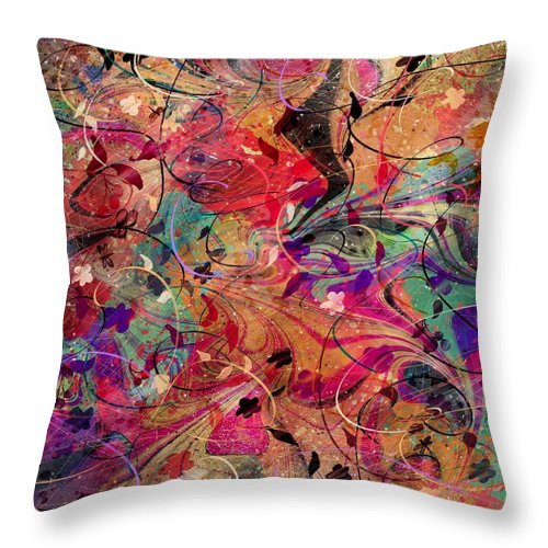 Abstract Throw Pillow featuring the digital art A Love Story by Rachel Christine Nowicki