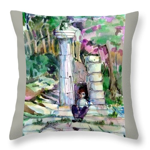 Watercolor Throw Pillow featuring the painting A Man In Ruins by Mindy Newman