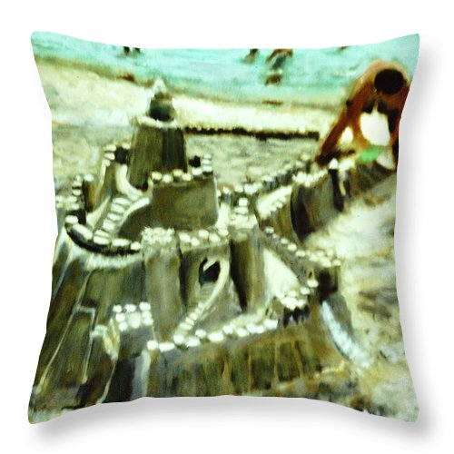 Beach Play Painting Throw Pillow featuring the painting A Mans Home Is His Castle by David Zimmerman