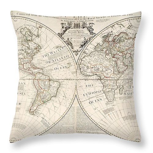 Map Throw Pillow featuring the painting A Map of the World by John Senex