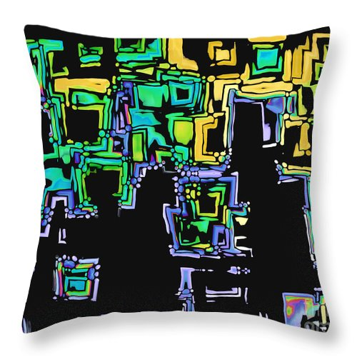Abstract Throw Pillow featuring the digital art A Maze Thing - 01ac05 by Variance Collections