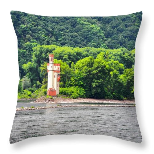 Medieval Building Throw Pillow featuring the photograph A Medieval Castle on the Rhine by Kirsten Giving