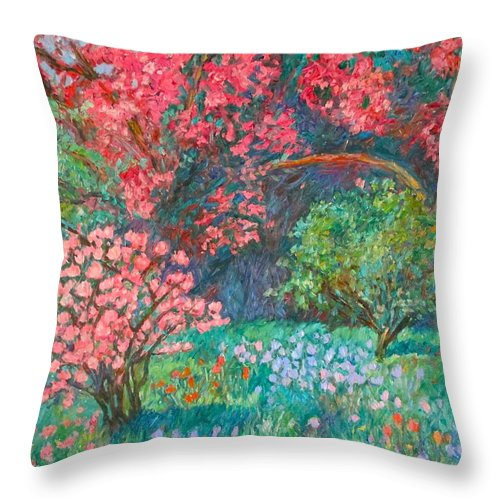 Landscape Throw Pillow featuring the painting A Memory by Kendall Kessler