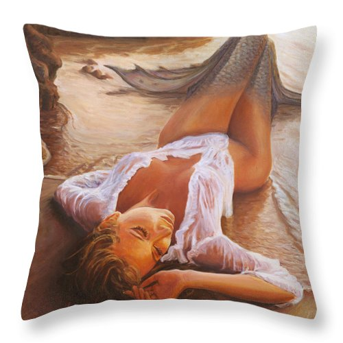 Mermaid Siren Sensual Sunset Sea Water Lady Sexy Throw Pillow featuring the painting A Mermaid In The Sunset - Love Is Seduction by Marco Busoni
