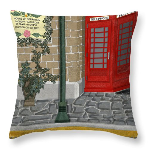 Cityscape Throw Pillow featuring the painting A Merry Old Corner In London by Anne Norskog