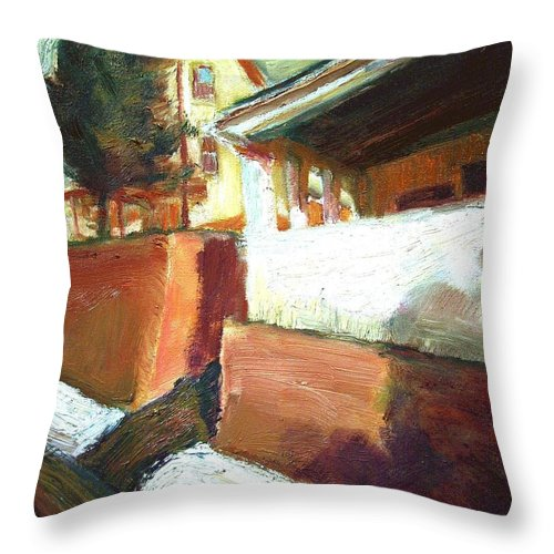 Dornberg Throw Pillow featuring the painting A Mid Western Street by Bob Dornberg