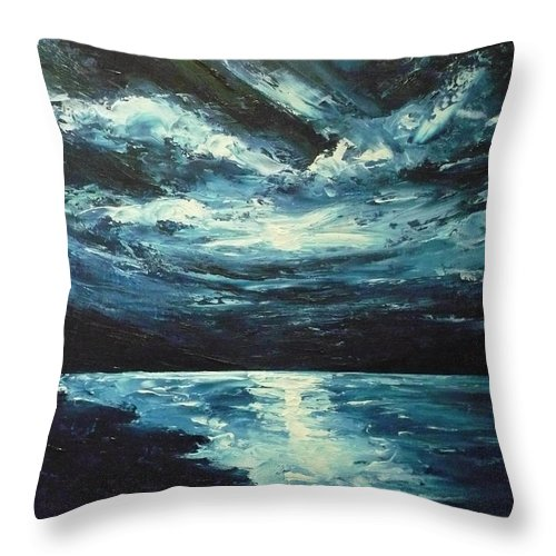 Landscape Throw Pillow featuring the painting A Milky Way by Ericka Herazo
