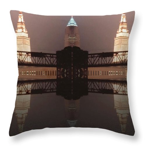 Cleveland Throw Pillow featuring the photograph A Mirror Image Reflection by Kenneth Krolikowski