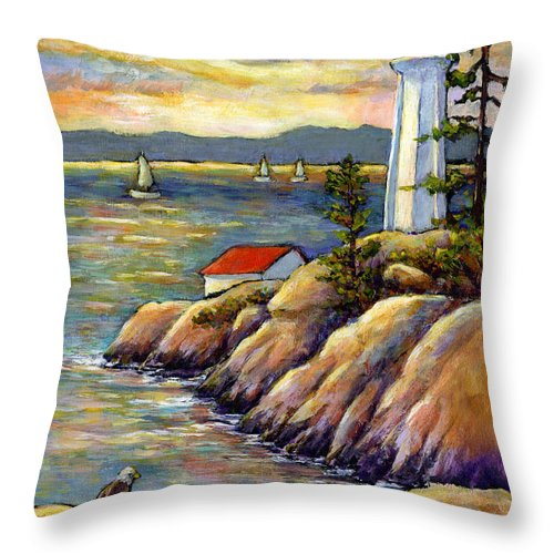 Lighthouse Throw Pillow featuring the painting A Moment By The Sea by Eileen Fong
