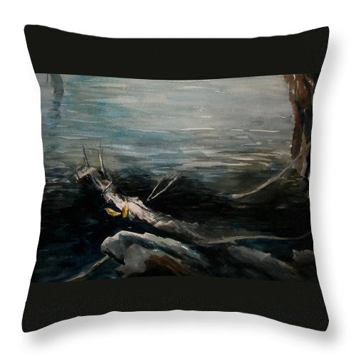 Landscape Throw Pillow featuring the painting A Moment In Time by Rachel Christine Nowicki