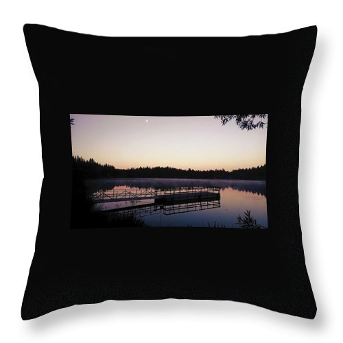 Dock. Water. Trees. Sunrise. Throw Pillow featuring the photograph A Morning Never Forgotten by Drew Filan