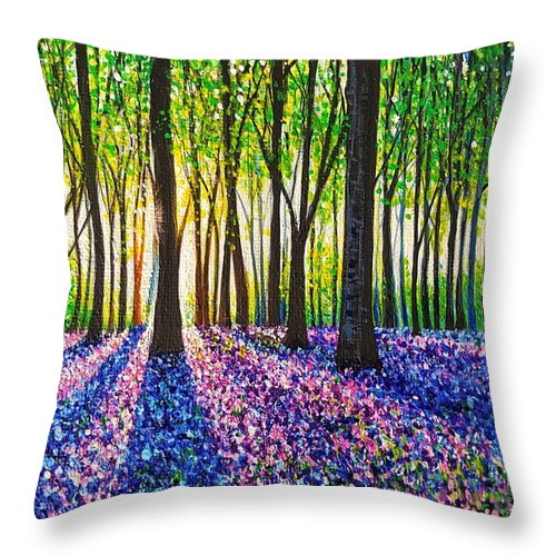 Morning Throw Pillow featuring the painting A Morning Walk Through Bluebells by Jessica T Hamilton