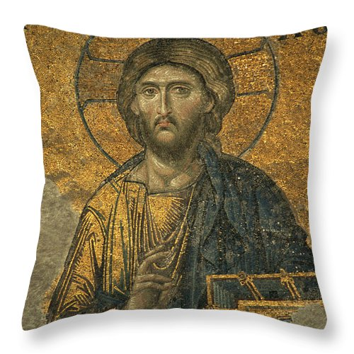 Turkey Throw Pillow featuring the photograph A Mosaic Of Jesus The Christ At St by Tim Laman