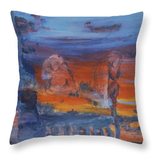 Abstract Throw Pillow featuring the painting A Mystery Of Gods by Steve Karol