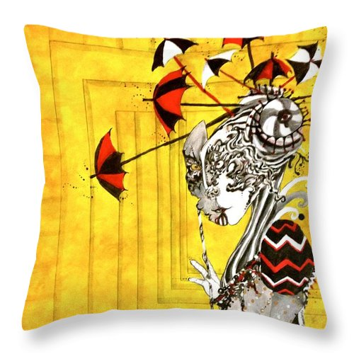 Yellow Throw Pillow featuring the painting A Net To Catch The Wind by Brittney Norton