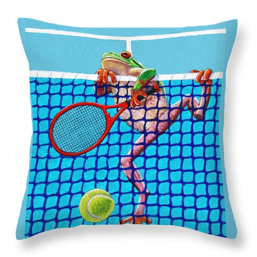 Tennis Throw Pillow featuring the painting A Net Violation by John Lautermilch
