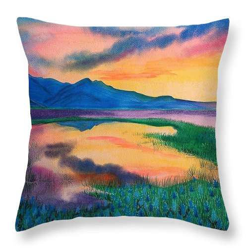Landscape Throw Pillow featuring the painting A New Beginning by Ramneek Narang