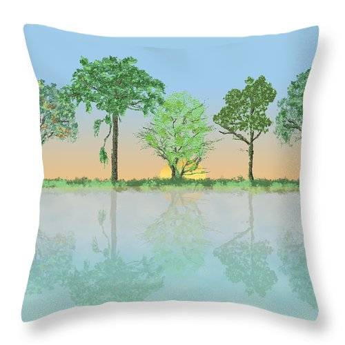 Trees Throw Pillow featuring the digital art A New Day by Arline Wagner