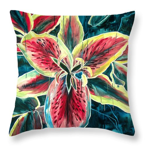 Floral Painting Throw Pillow featuring the painting A New Day by Jennifer McDuffie