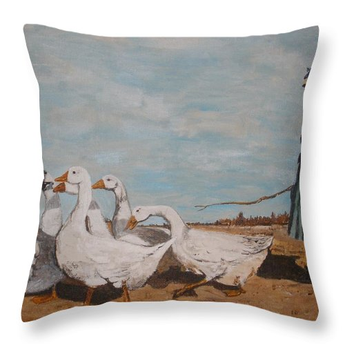 Masters Throw Pillow featuring the painting A New Pasture by Betty-Anne McDonald