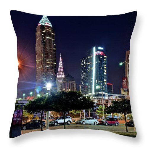 Cleveland Throw Pillow featuring the photograph A New View by Frozen in Time Fine Art Photography