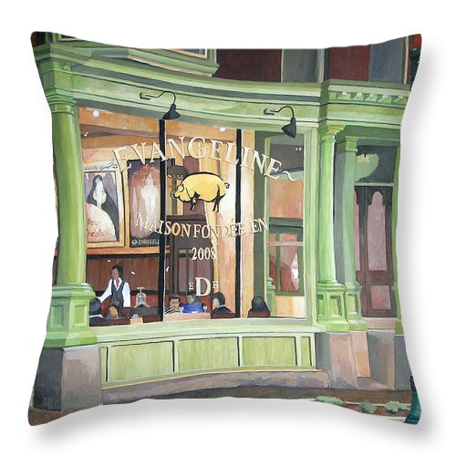 Restaurant Throw Pillow featuring the painting A Night At Evangeline by Dominic White