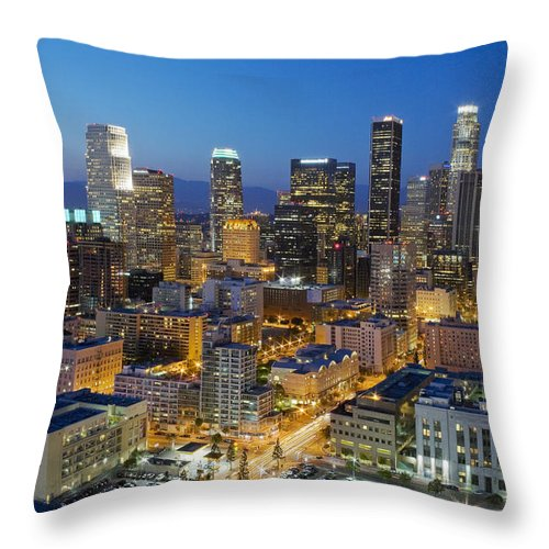 Los Angeles Throw Pillow featuring the photograph A Night In L A by Kelley King