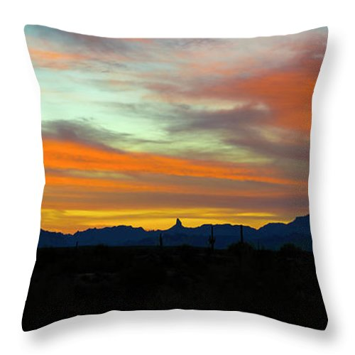 Arizona Throw Pillow featuring the photograph A Painted Morning Sky by Cathy Franklin