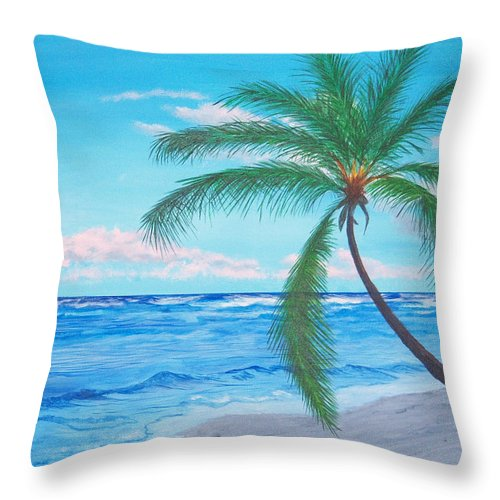 Beach Throw Pillow featuring the painting A Palm At Sunrise by Nancy Nuce