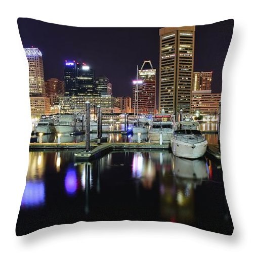 Baltimore Throw Pillow featuring the photograph A Panoramic Baltimore Night by Frozen in Time Fine Art Photography