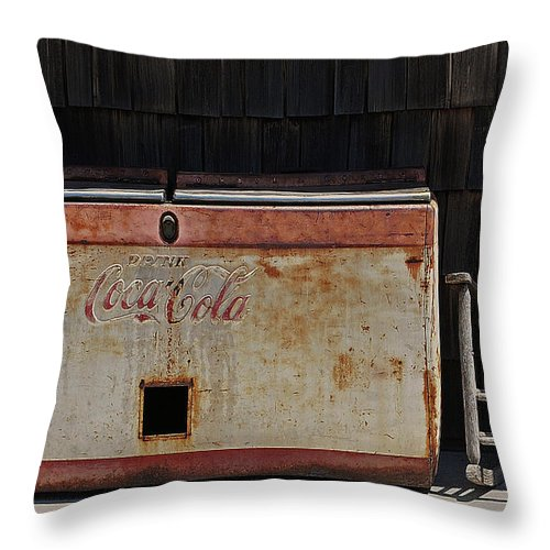 Coca Cola Throw Pillow featuring the digital art A Past Time Of Enjoyment by DigiArt Diaries by Vicky B Fuller