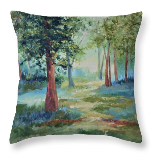 Trees Throw Pillow featuring the painting A Path Not Taken by Ginger Concepcion