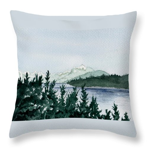Landscape Throw Pillow featuring the painting A Peaceful Place by Brenda Owen