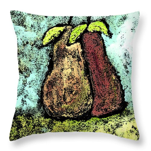 Pears Throw Pillow featuring the painting A Pear Pair by Wayne Potrafka