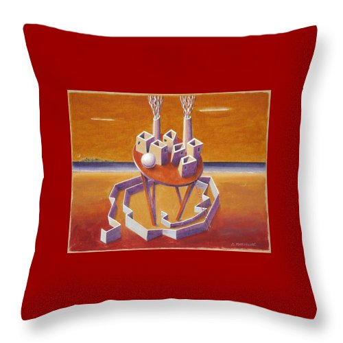 Metaphysical Symbolic Sureal Surrealist Greece Greek Landscape Factory Architecture Seascape Ball Throw Pillow featuring the painting A Peasents Dream by Dimitris Milionis