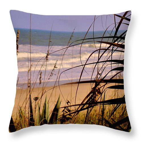 Peek At The Shore Throw Pillow featuring the photograph A Peek At The Shore by Susanne Van Hulst