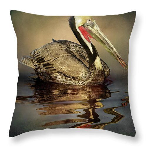 California Throw Pillow featuring the digital art A Pelican And His Reflection by Stevie Benintende