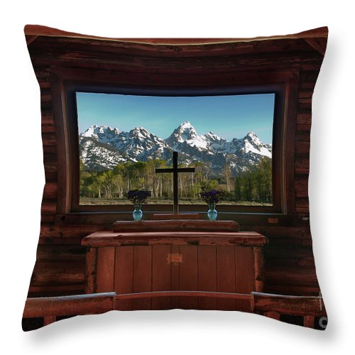 Hdr Throw Pillow featuring the photograph A Pew With A View by Sandra Bronstein