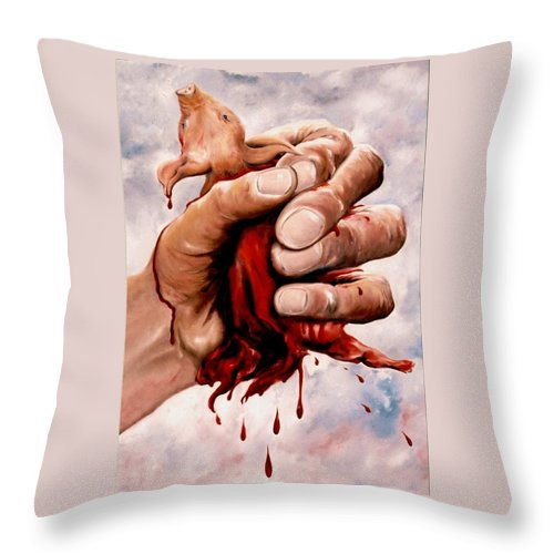 Surreal Throw Pillow featuring the painting A Pigs Life by Mark Cawood