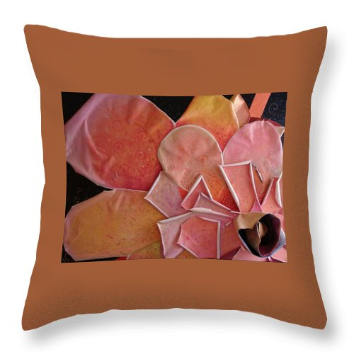 Sculptural Throw Pillow featuring the painting A Pink Experience by Helena Tiainen