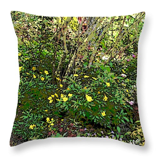 Square Throw Pillow featuring the digital art A Place Along The Way To Stop And Rest by Eikoni Images