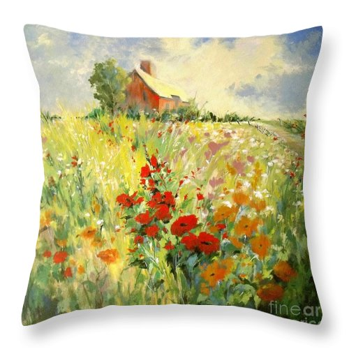 Canvas Print Landscape Throw Pillow featuring the painting A Place To Be II by Madeleine Holzberg