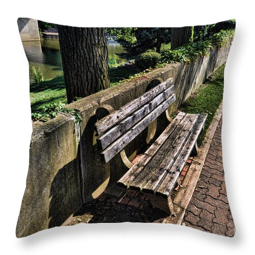 Bench Throw Pillow featuring the photograph A Place To Rest by Chris Fleming