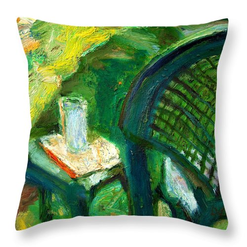 Dornberg Throw Pillow featuring the painting A Place To Write by Bob Dornberg