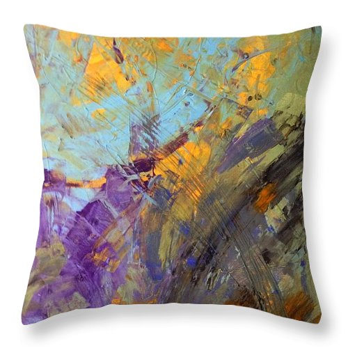 Abstract Art Throw Pillow featuring the painting A Planet Outside The Milk Way by John Dossman