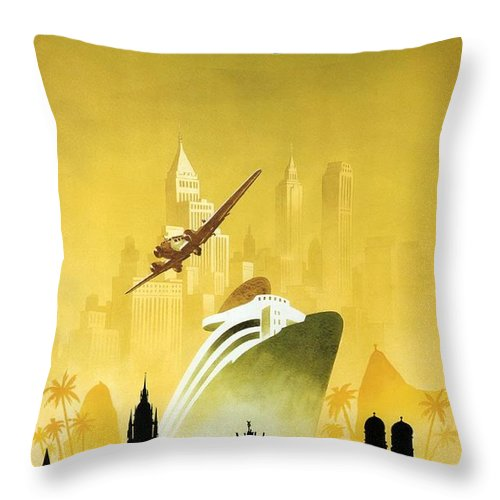 Germany Throw Pillow featuring the photograph A Pleasant Trip To Germany - Airship, Aircraft, Ship - Retro Travel Poster - Vintage Poster by Studio Grafiikka